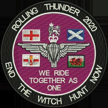 Rolling Thunder 2019 - End the Witch Hunt Now Embroidered Badge